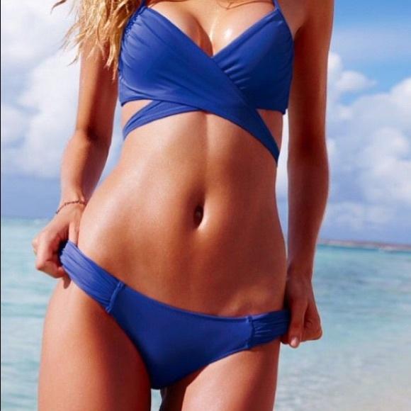 6cc1bd32e917f NWT Victoria s Secret Blue Knockout Bikini Bottom